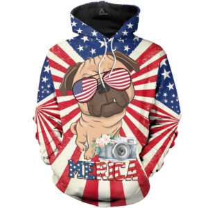 Pug Merica 3d All Over Printed Shirts For Men And Women