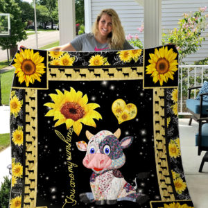 Cow Sherpa Fleece Blanket Style 1